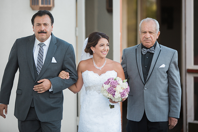 Menifee Lakes Country Club Wedding Bride With Dad And Grandfather Walking Down The Aisle In Grey