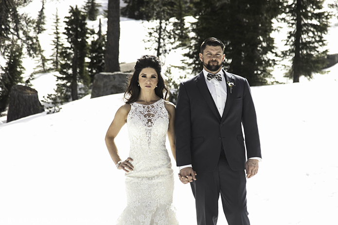 Squaw Valley Lake Tahoe Wedding With The Bride In A Laced Gown And Groom