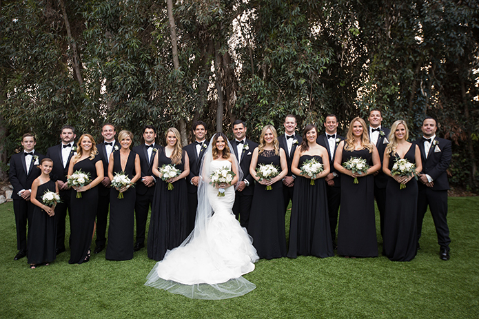 Twin Oaks Garden Estate Wedding Party In Black Attire Vera Dress