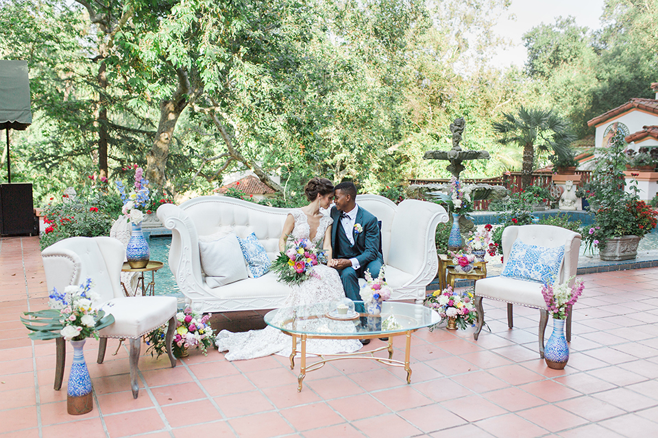 Rancho Las Lomas Outdoor Wedding Shoot With Spanish Inspiration Bride Form Ing Lace Gown Beaded